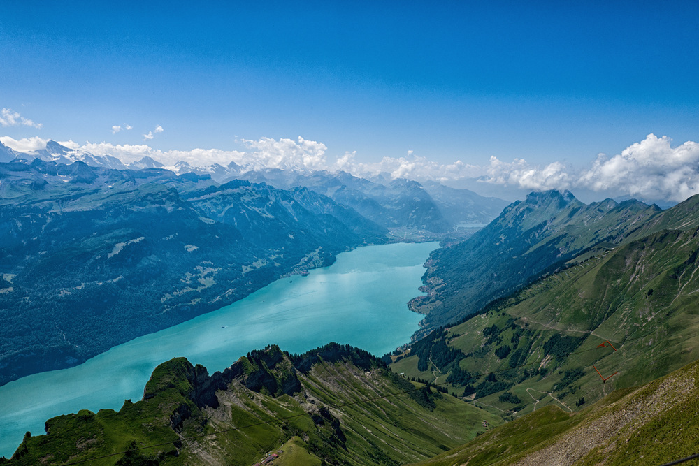Lake Brienz and the Bernese alps seen from the top of the Rothorn