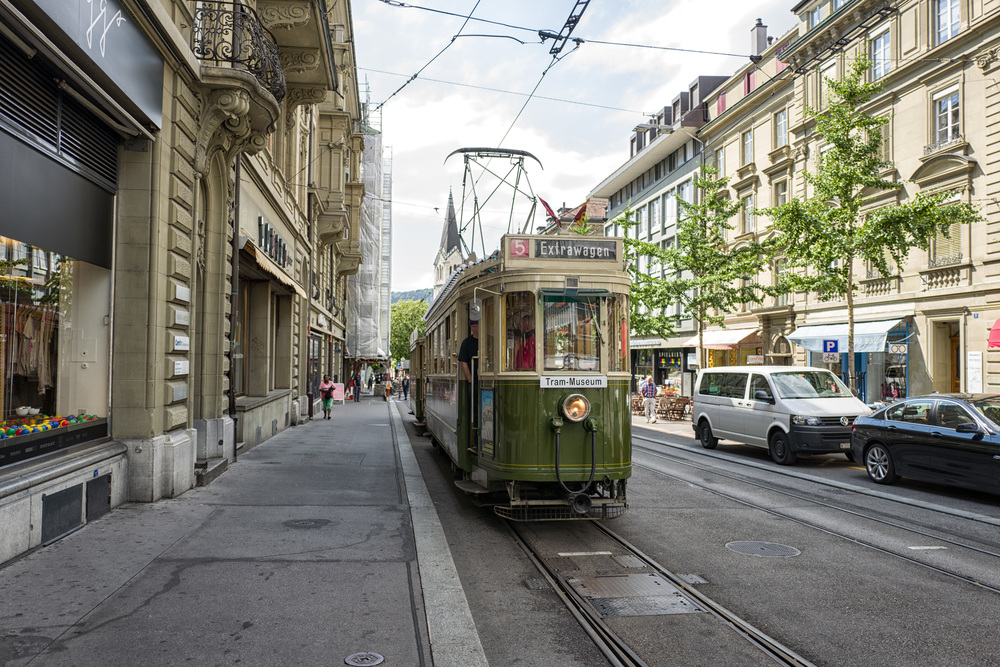 Our very own tram awaits in a side street near Bern railway station. As part of our organised tour, we spent two hours trundling around the Swiss capital in this 1935 vintage tram