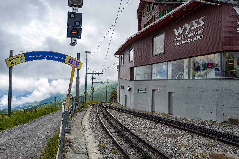 The only way is down—the rack-and-pinion WAB line to Alpiglen, Brandegg and Grindelwald leaving Kleine Scheidegg station