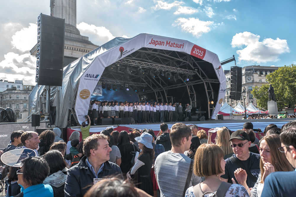 Choir of 12 to 15-year-olds from the Japanese School in Acton perform on the Matsuri stage