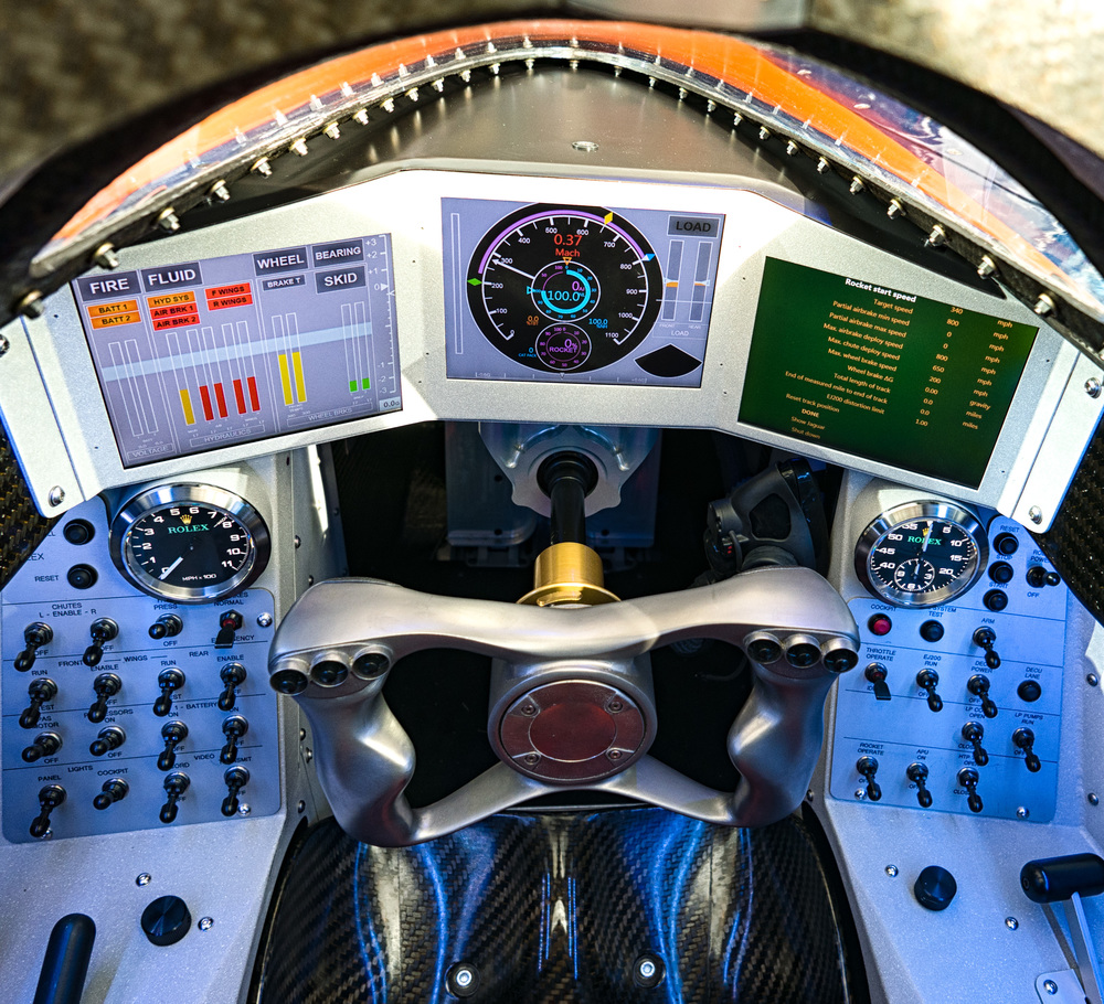 Cockpit of the Bloodhound supersonic car. Beam me up, Scotty