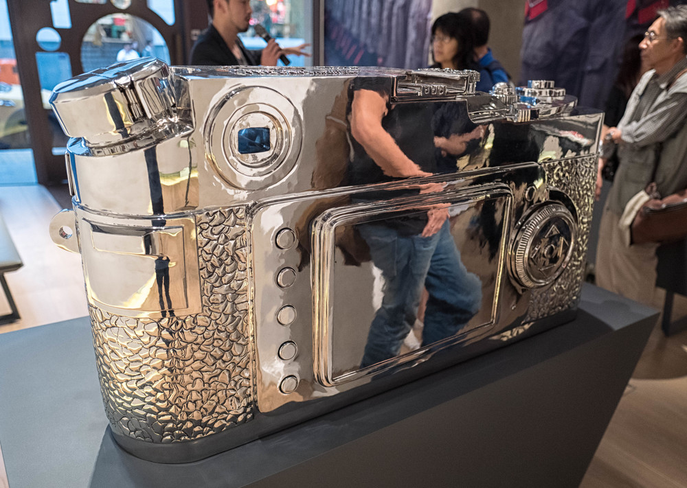 The centrepiece of the museum is this remarkable chrome Leica which turns out to be a tongue-in-cheek montage of all Ms, with design cues from Leicas through the decades, right up to the surprise digital back