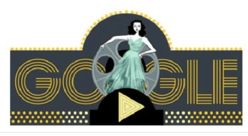 "Today's Google Doodle celebrating the life of Hedy Lemarr, ""actress and inventor"", who was born 101 years ago."