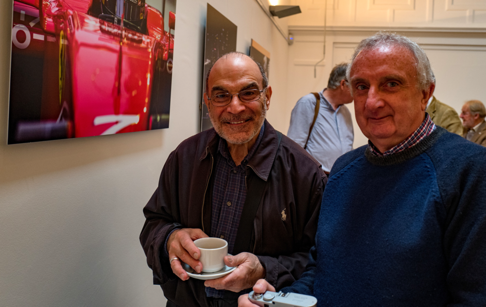 "Actor David Suchet, who has just finished a 31-week West End stint as Lady Bracknell in The Importance of Being Ernest, is a lifelong Leica enthusiast and welcomed his ""me"" day as one of the crowd at the Leica event. Seen here with another LS member, Tom Lane"