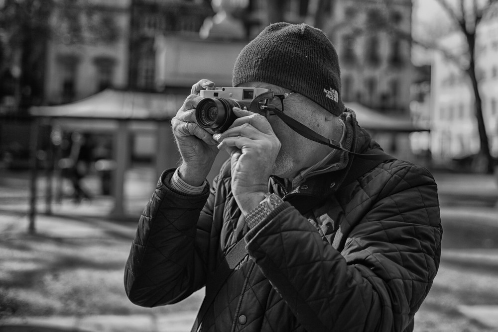 Leica M-P seen through the 35mm Summilux lens of the M60. Photo: George James.