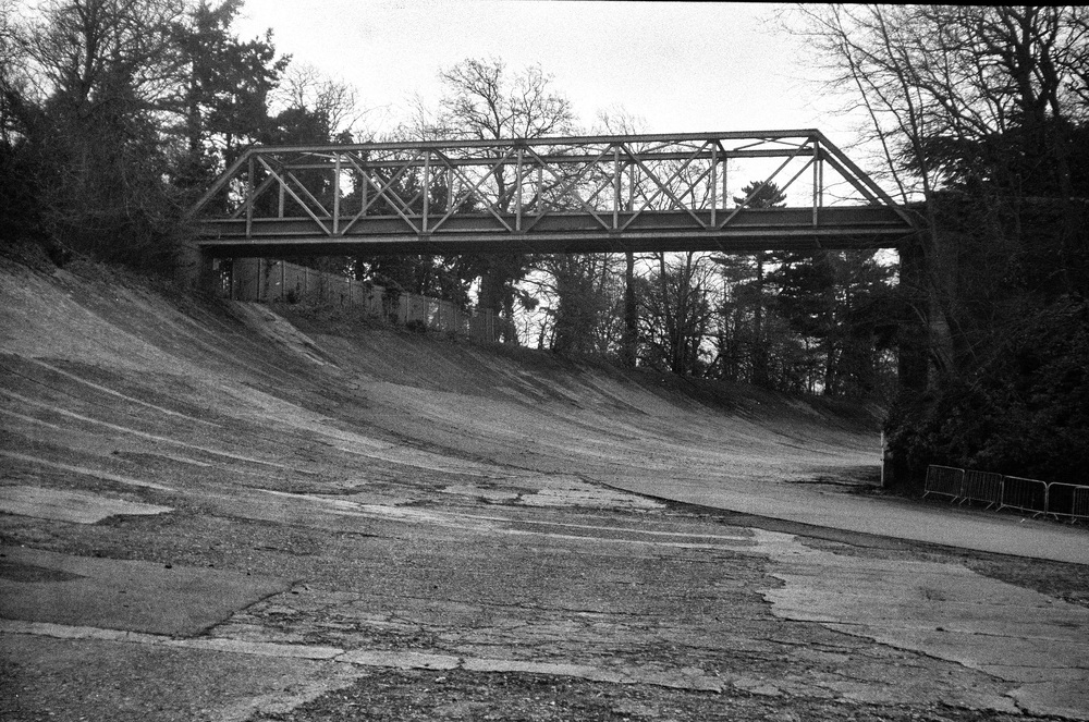Members' Bridge at Brooklands which has been the home of British motorcycle and car racing since it was opened 23 years ago in 1907