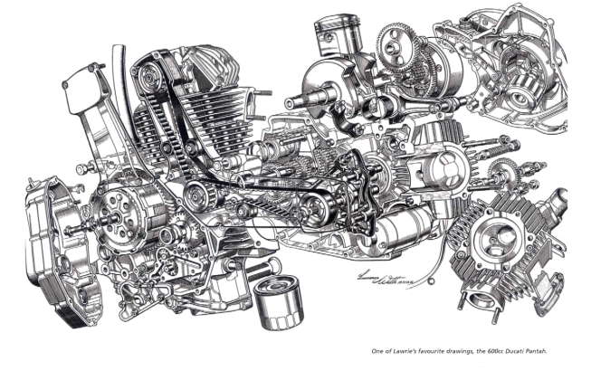 The 600cc Ducati Pantah, one of Lawrie Watts's favourite drawings, according to David Dixon, his biographer. This is one of the hundreds of stunning marvels published in  Motor Cycle  magazine and reproduced in David's book