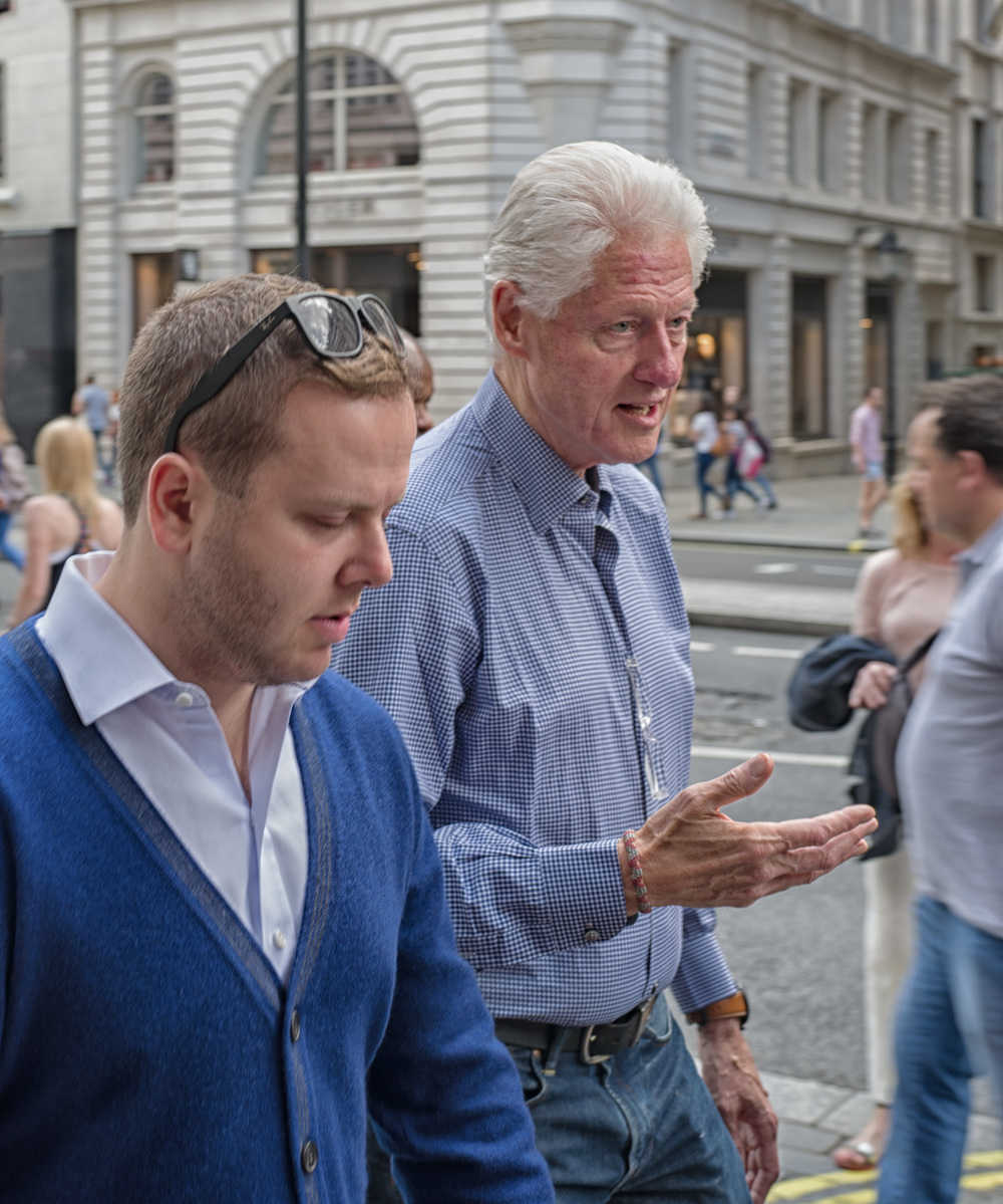 Presidential streettog: Leica Q meets Bill Clinton in Piccadilly. The Q is one of the best cameras you can buy for street photography, instantly ready, invariably good