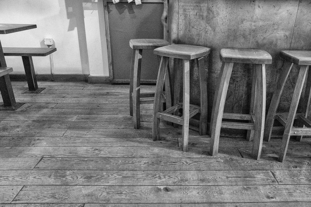 Empty stools shot in low light at 12500 ISO