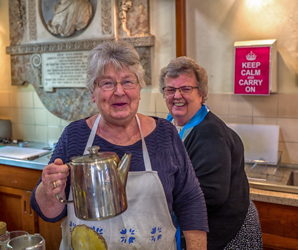 """Ladies wot brew: The church tearooms at Whip-Ma-Whop-Ma-Gate in York. This became one of my favourite pictures because these ladiy 'baristas""""look so jolly and are absolutely typical of a bygone style of catering"""