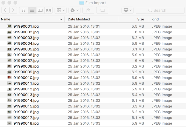 Before--the meaningless filenames from the processing house
