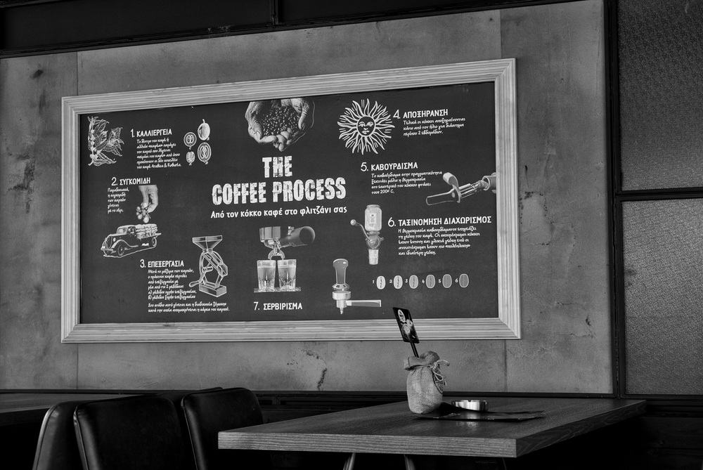 "The Coffee Process at Flocafe in Glyfada: ""From the coffee bean to your cup"". They also do a nifty line in hot, potted tea as I discovered on my travels"