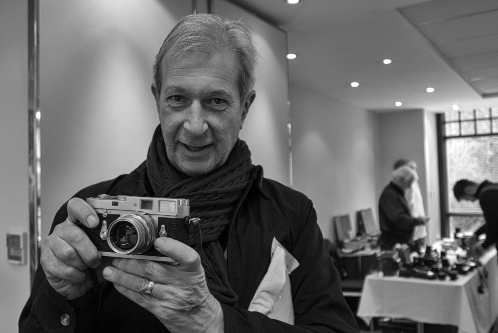 Stephen Jenner and his M2 with 50mm DR at last Sunday's South London Camera Fair (Photo Mike Evans, Leica D-Lux)
