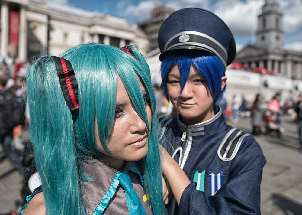 Kaito, Fairyking Cosplay, and Miku, Kisaki Cosplays, at the Japan Matsuri festival in London last September. Photo Mike Evans, Leica Q