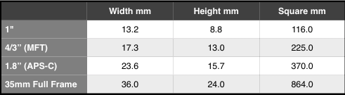 Sensor size is not everything, but it helps (source Wikipedia). What does surprise is the big difference in area between APS-C and full frame.