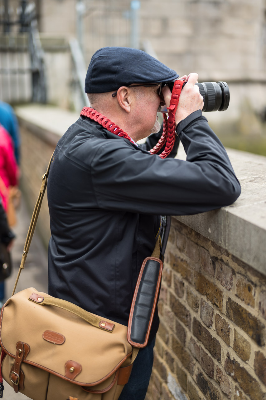 Evans exercising the Leica SL and 24-90 zoom, held firmly by a red TieHerUp Rock n' Roll strap from Evris Papanikolas which is in stock at Red Dot Cameras. (Photo John Cartwright with Leica SL and 50mm Summilux ASPH)