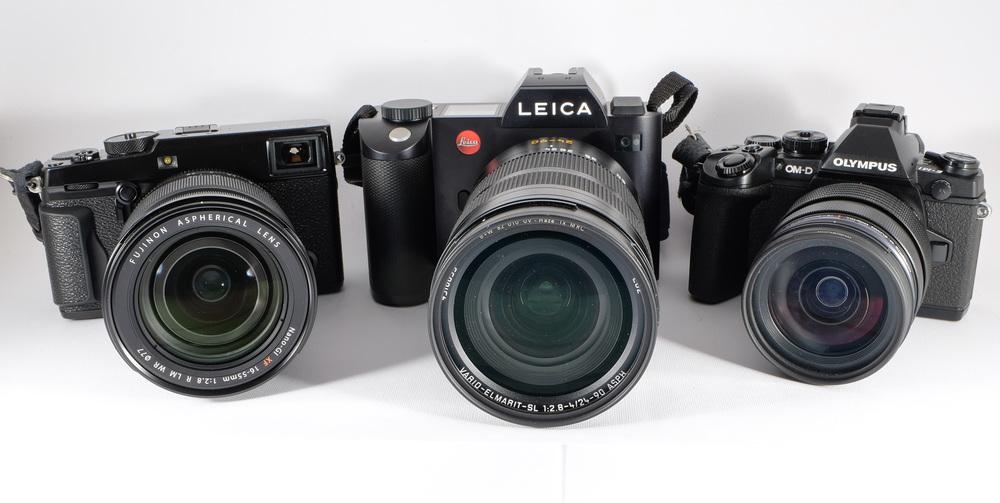 Three cameras, frontal