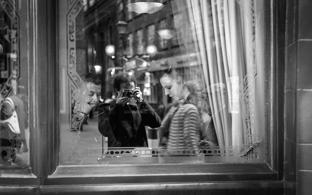 Window selfie of Adam, M-A and 50mm rigid Summicron