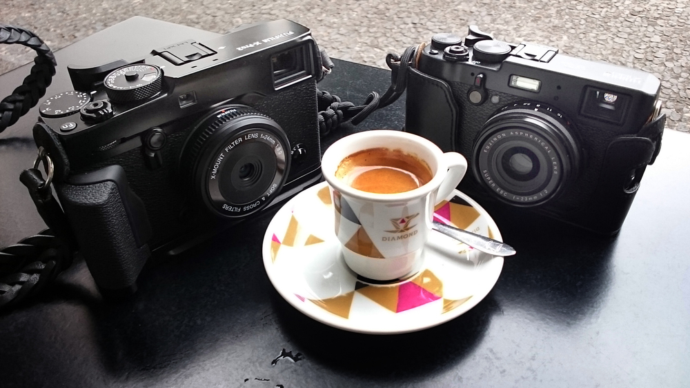 Fuji X-Pro2 and toy lens, X100T with the better lens. No coffee stains on screens.