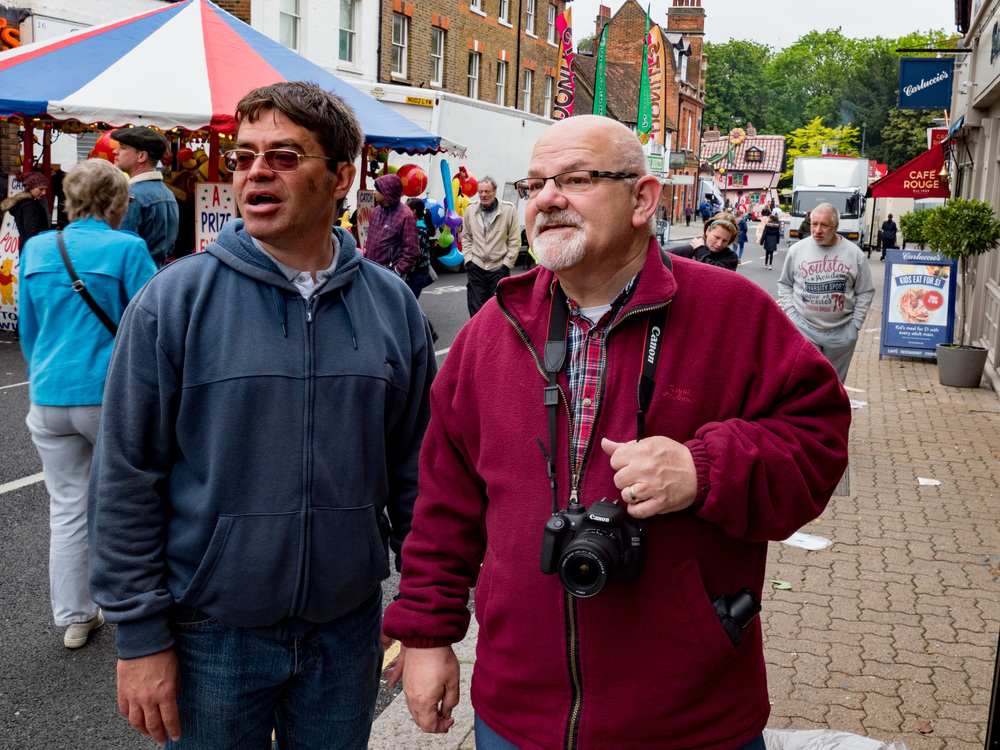 Fairground expert and chronicler of activities, Rod Jesson (right) meets fellow showground enthusiast Martin Cooper. It's just like a camera fair.