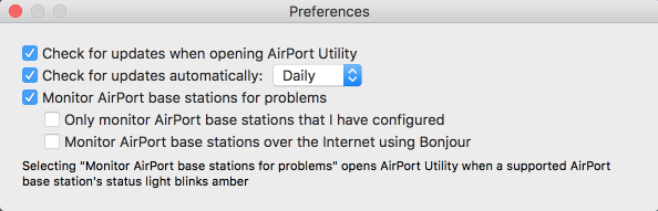 Check your AirPort Utility Preferences and make sure you have ticked the boxes for automatic updates (weekly or daily checking) and monitoring of base stations for problems