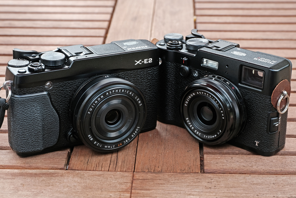 X-E2 with 27mm f/2.8, equivalent to 40mm full frame, and the 23mm X100T, equivalent to 35mm