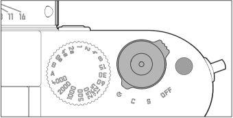 Simple controls: Power switch, shutter release, speed dial and (right) the single function button
