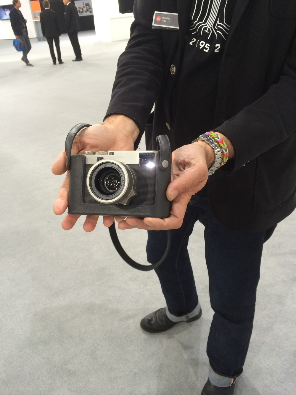 Photographer Michael Agel displays his new Leica M60 Edition at Photokina 2014