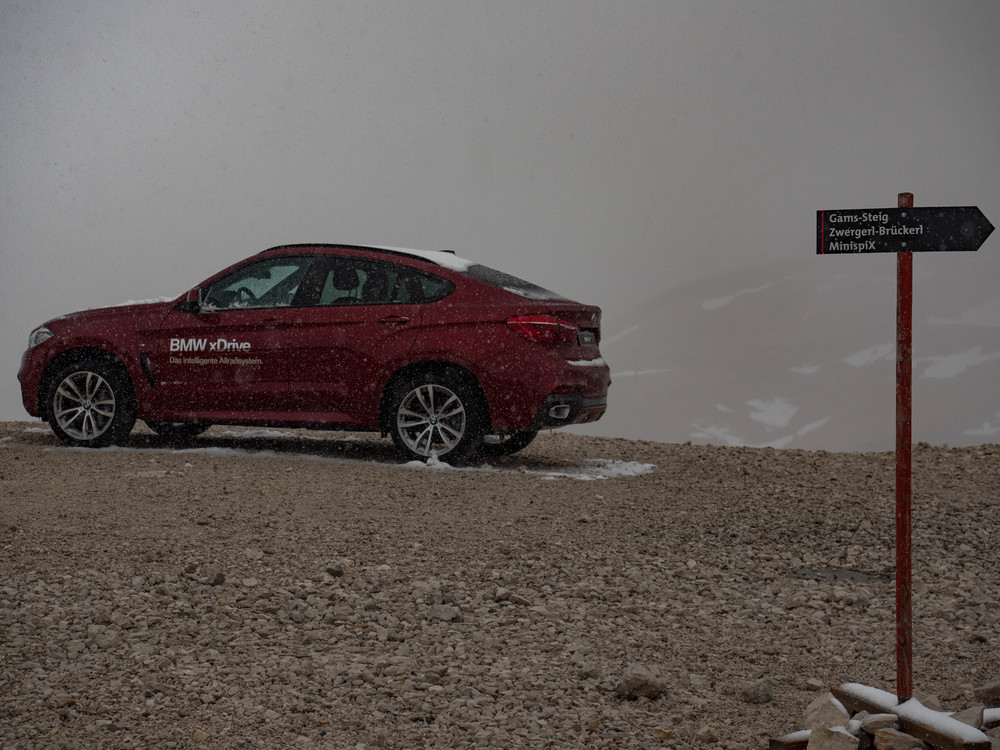 This BMW X-Drive was perched here on the mountain on my last visit in January 2014. I hope they changed the model.