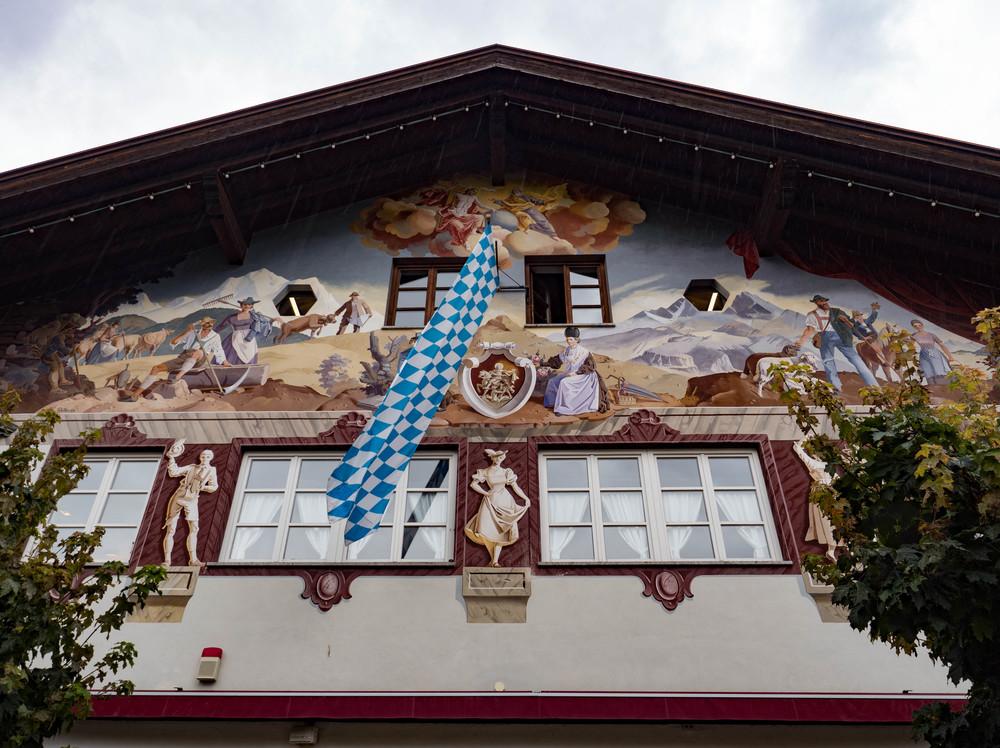 Alpine architecture and art, Garmisch Partenkirchen. That 24mm wide-angle comes in handy.