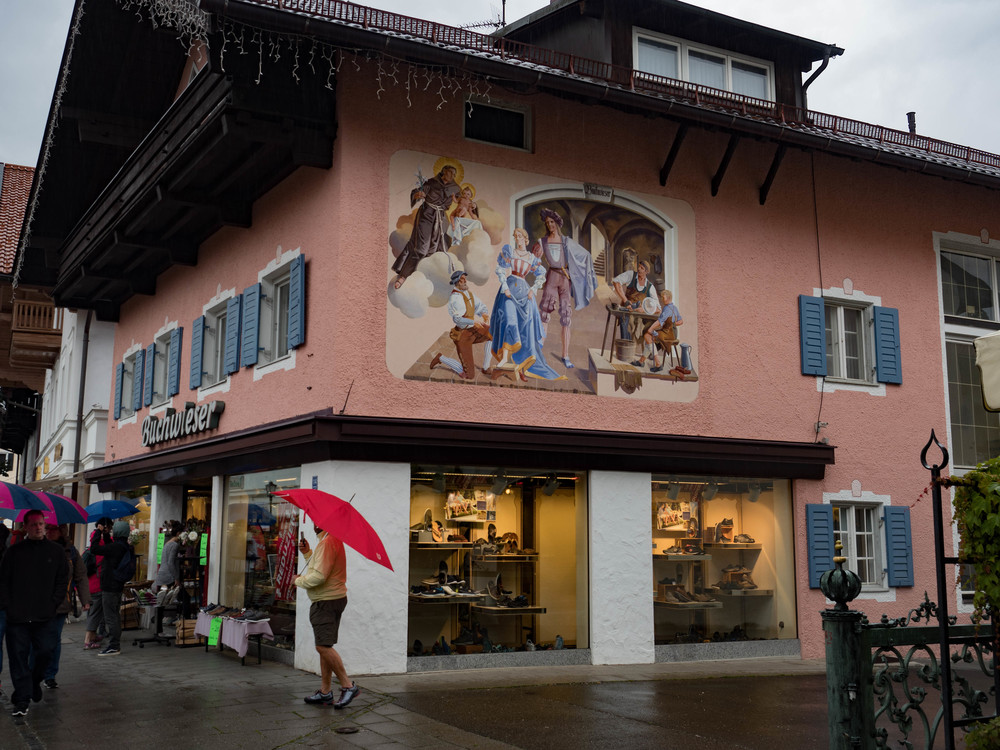 Umbrella corner, Garmisch. It's good that the Zuiko 12-40 is water resistant but this is more than can be said for the PEN-F. It is the one major failing with the otherwise wonderful PEN.