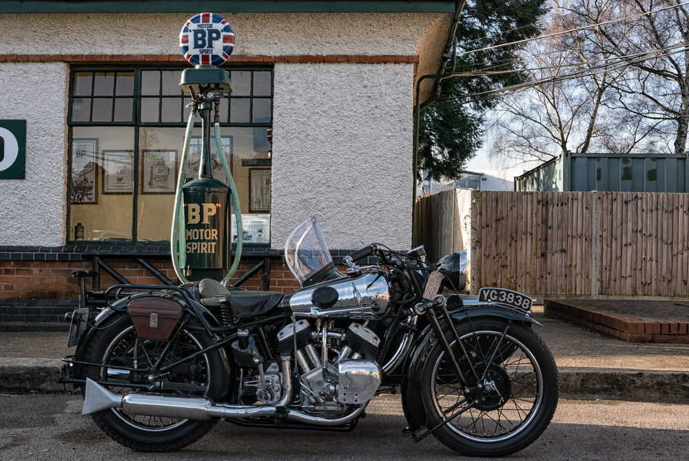1935 Brough Superior sidecar outfit at Brooklands Museum: Impressive results from the Leica D-Lux, with its four-thirds sensor, encouraged me to adopt m4/3 as a second system to a full-frame outfit