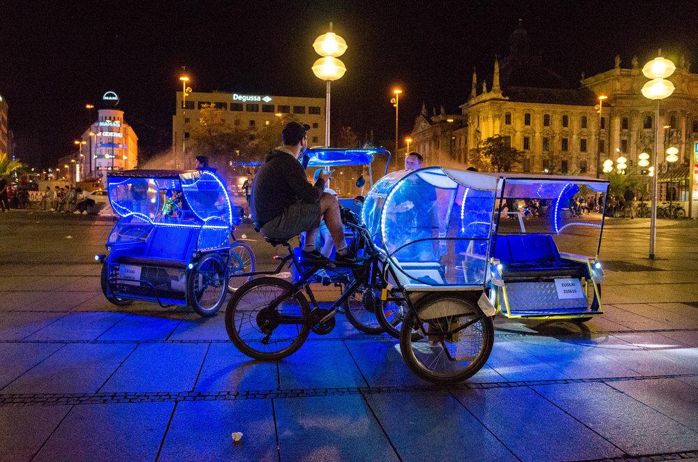 Cycle rickshaws waiting in Karlsplatz, ISO 5000