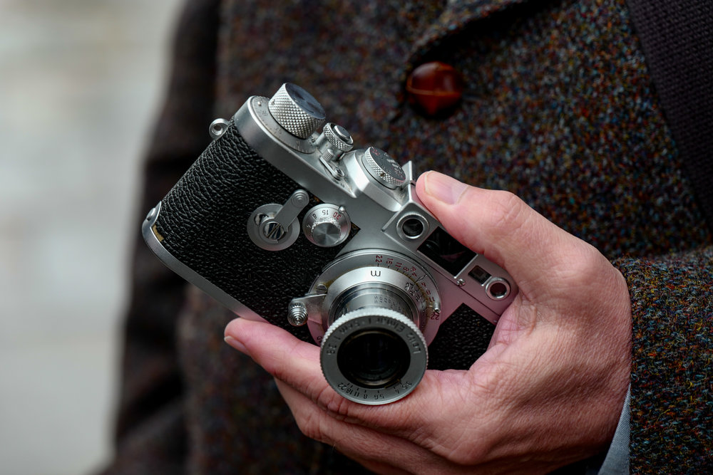 No one could complain about lack of discretion here: Farnz's 1953 Leica IIIg with 1932 5cm Elmar. Even rain didn't stop play for this one (Photo Leica SL)