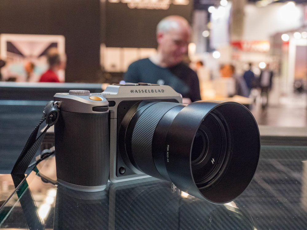 Hasselblad's X1D was available for handling and demonstration. With the arrival of the Fuji GFX the medium-format digital market is suddenly hot property.