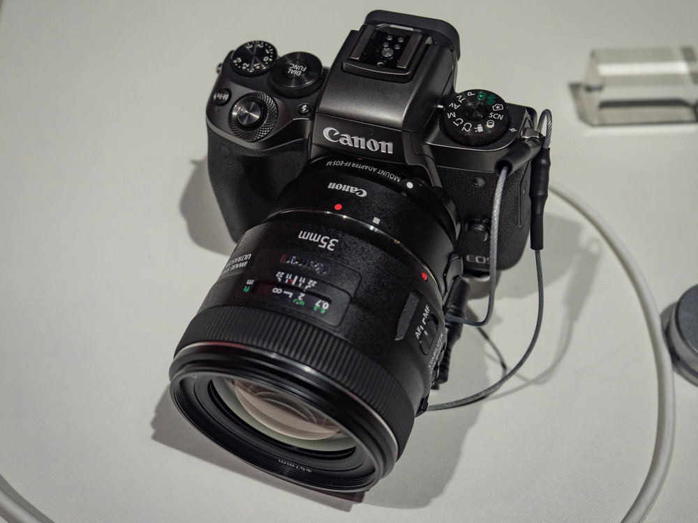 The new EOS 5M with a standard Canon-mount prime mounted via the adapter