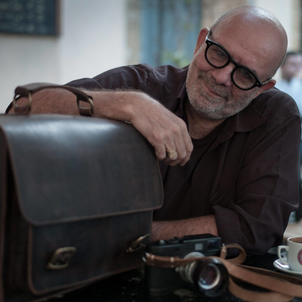 Things to come: Evris Papanikolas with his prototype leather camera bag.