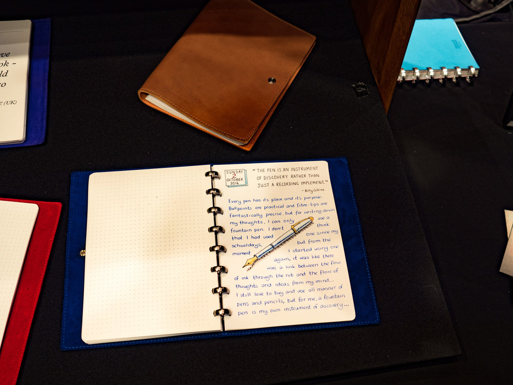 Write, write, write. The secret of getting back your penmanship is to practice. Choose a good notebook. This is the luxurious British-made William Hannah system, but much cheaper bound books will do the trick.