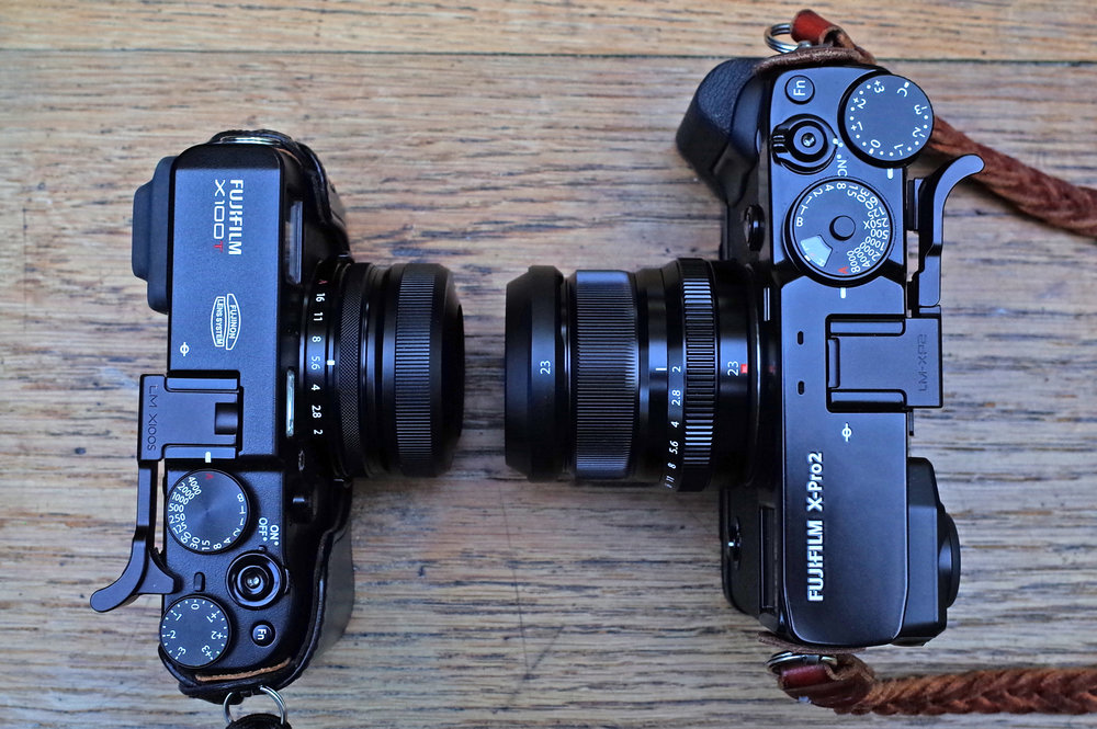 X100T (left) and X-Pro 2, each with their 23mm f/2 lenses