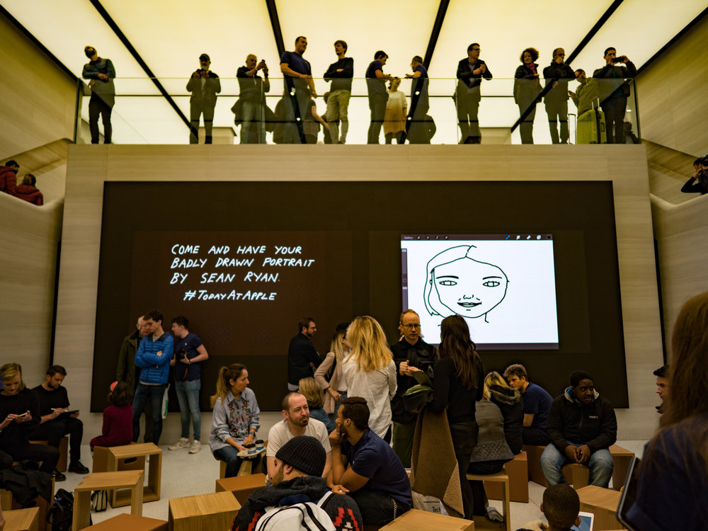 Opening of the new Apple Store in London's Regent Street. The DG Summilux is great for indoor photography