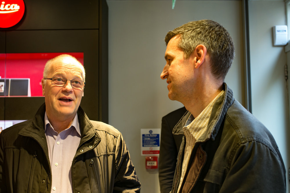 Phil Coomes (right), who has just stood down as editor of the Leica Society Magazine after efforts well beyond the call of duty, chatting with new Circle D member, Tony Goodger.