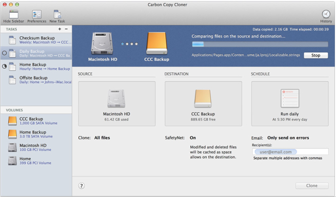 Carbon Copy Cloner will automatically run a scheduled backup of your internal disk and will copy only files that have changed since the previous run..