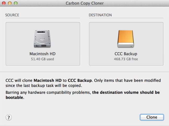 Incremental backups, which save time and avoid excessive disk running time, make backing up easy. CCC, as with other systems, will keep records of all deleted files until you run out of disk space on the backup — at which time it will delete the oldest files and carry on running.