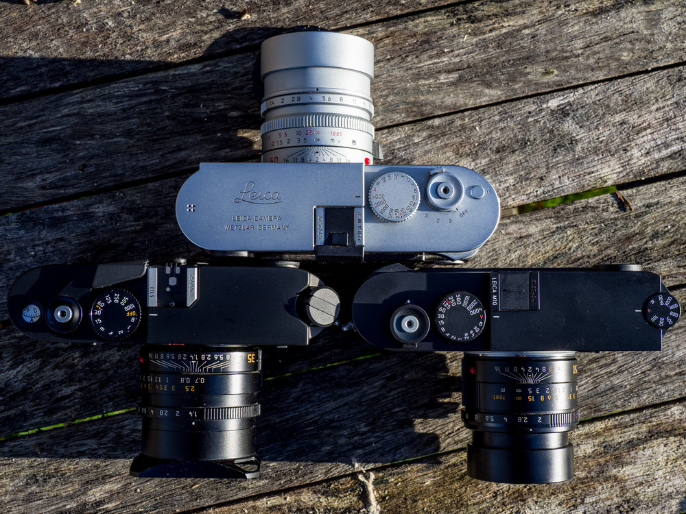 Showing the Leica M-P 240 with the Leica M6ttl and the Leica M10 - they are all identical height, and a base plate comparison shows that the M6ttl and the M10 are the same width and depth