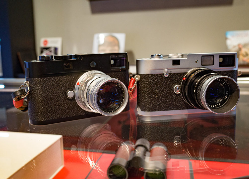 For the spartan warriors among us: On the right, the latest purely mechanical confection from Leica Camera AG, the Leica M-A. On the left, its digital counterpart, the screenless, chimpless Leica M-D. Both share the the mechanical rangefinder, the joy of the M user