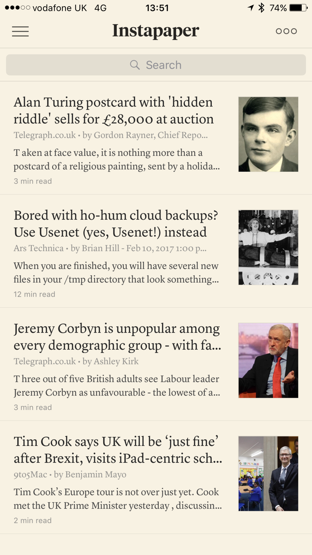 Instapaper presents snippets of news you have sent from other services. Here you see the summary view