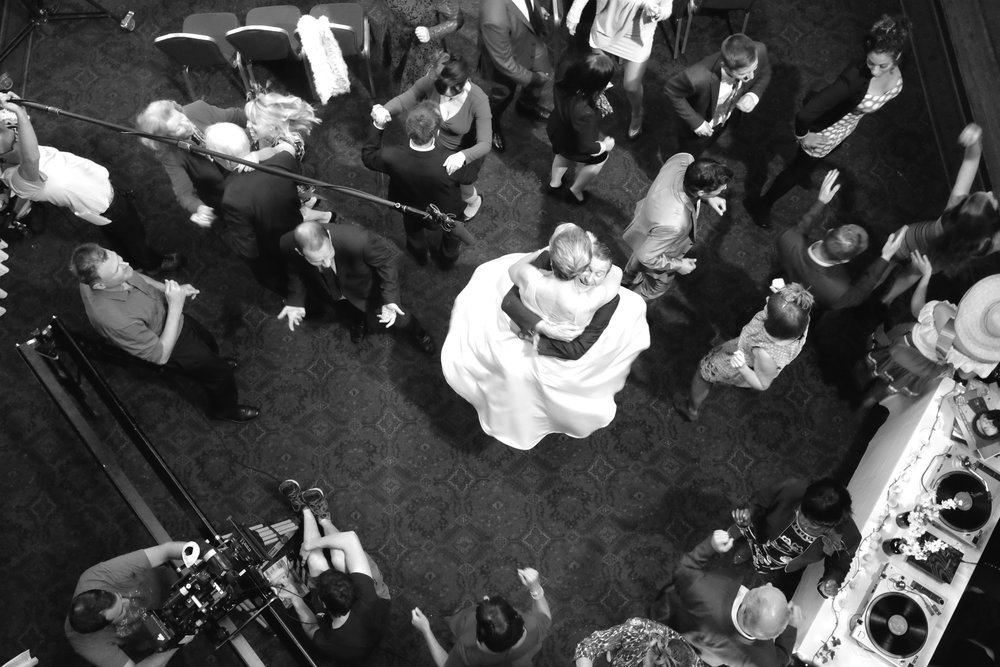 Above: Crew's eye view of the wedding dance from BBC's Doctors series. Central placement of the bride and groom draws the eye, but what else is going on?