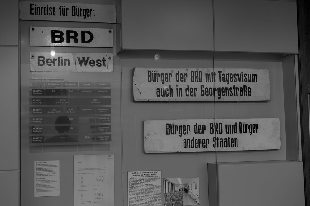 "Lots of signs to make sure no one took the wrong turning: ""Entry for citizens of the Federal Republic of Germany and Berlin (West). ""Citizens of the Federal Republic with day visa also in the Georgenstraße."" ""Citizens of the Federal Republic and citizens of other states""."