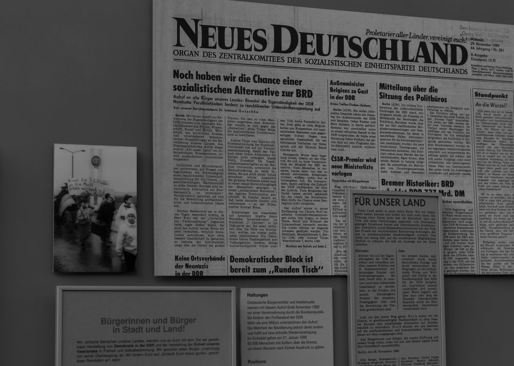 "Optimistic to the last: The official organ of the Socialist Unity Party of Germany, 'New Germany' on 29 November 1989: ""Now we have a opportunity for a socialist alternative to the Federal Republic"". It was a last gasp, as it turned out, and quite misleading. Without the secret police, the population wanted none of the GDR's peculiar and repressive brand of socialism"