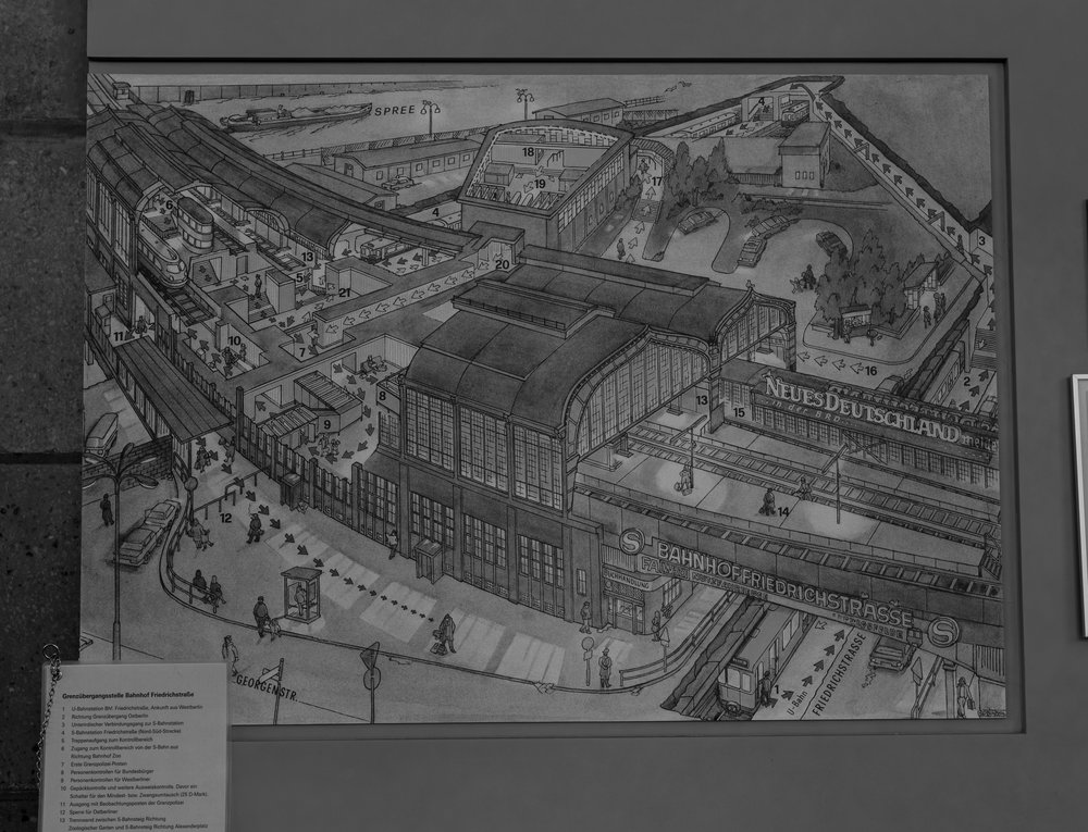 Navigating the complexity of Friedrichstraße station and the Palace of Tears (centre top): All the obedient border crossers wending their way to the decadent west like tiddlewinks on a snakes & ladders board. Only such wending was not possible for the vast majority of GDR citizens — until they got too old to be of any more use to the state